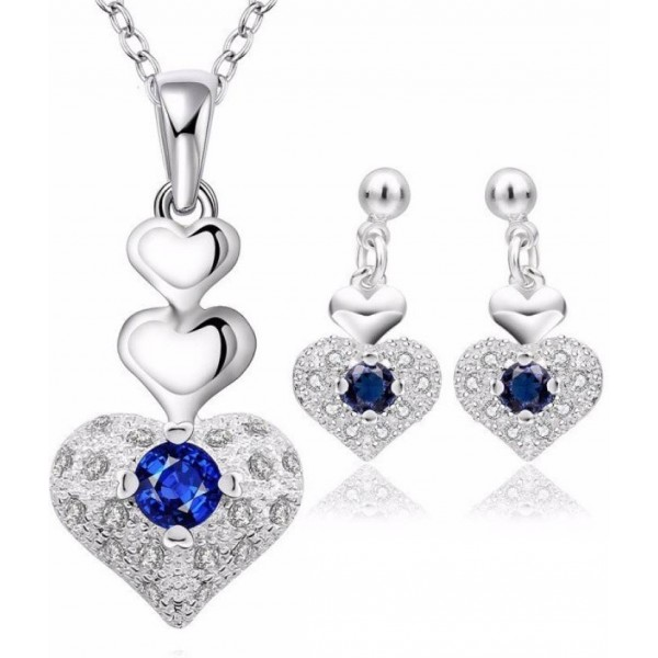WearYourFashion Sterling Silver Jewel Set  (Blue)