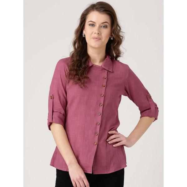Jaipur Kurti Women Pink Straight Regular Fit Solid Casual Shirt