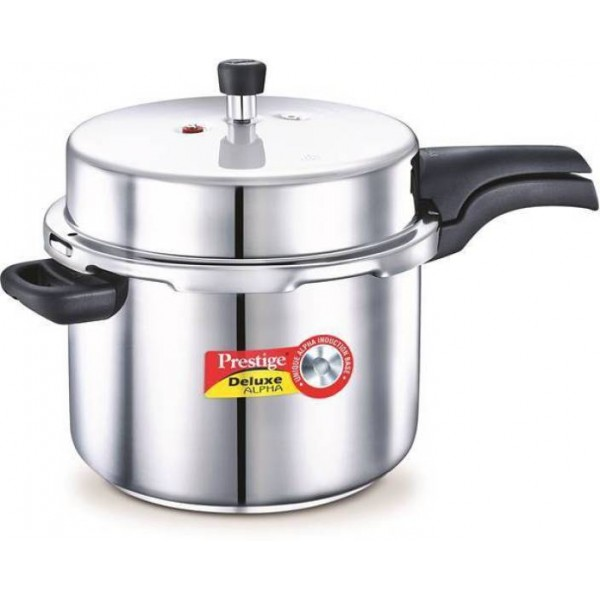 Prestige Deluxe Alpha 8 L Pressure Cooker with Induction Bottom  (Stainless Steel)